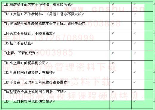 公司新进职员培训成果检测表(二)