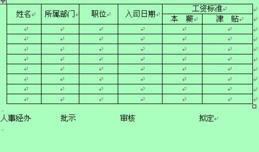 新员工职务与工资标准表