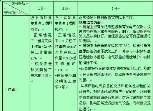 电气绝缘监督及仪表专职行为规范考评表