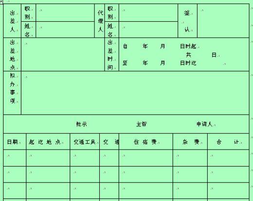 员工出差及费用申请单(doc 1页)_员工管理表格