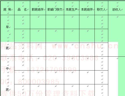 工厂的产量记录表