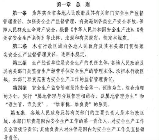 贵州省各地人民政府与有关部门安全生产规程