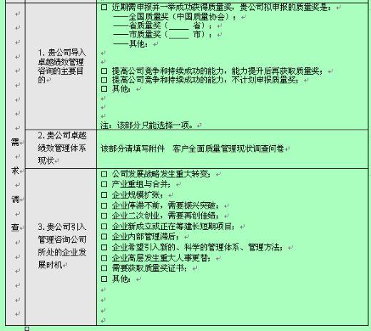 客户卓越绩效管理咨询需求调查表(doc 3页)-绩