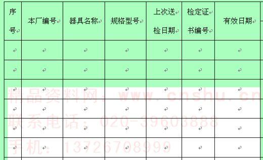 检测计量器具周期检定计划表