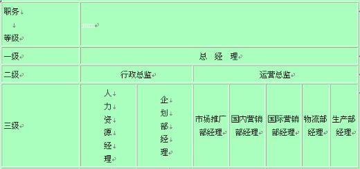 员工职务等级划分表