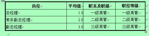 高层管理者排序结果统计表