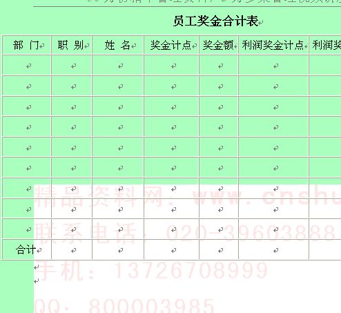 企业员工奖金合计表