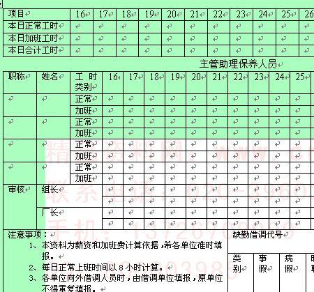 企业员工考勤记录表