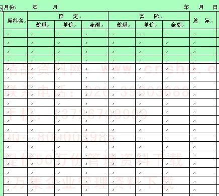 企业原材料管理表