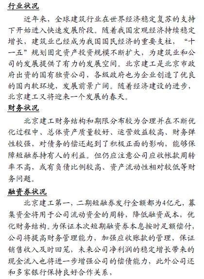 北京建工短期融资券分析报告