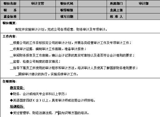 审计主管岗位说明书(doc 2页)