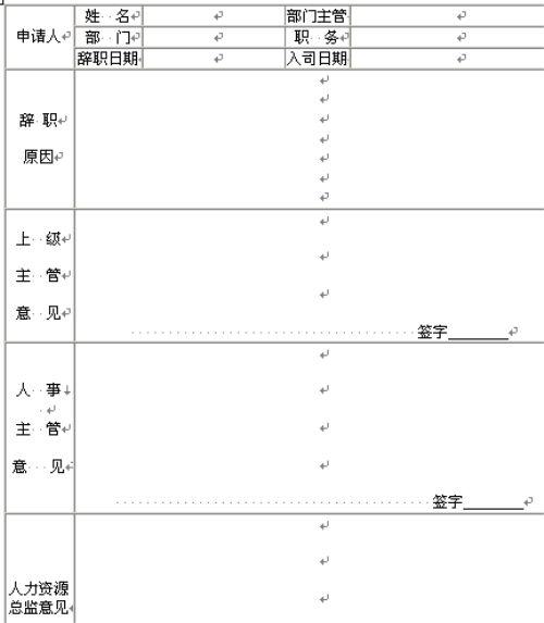 人员辞职申请表(doc 1页)