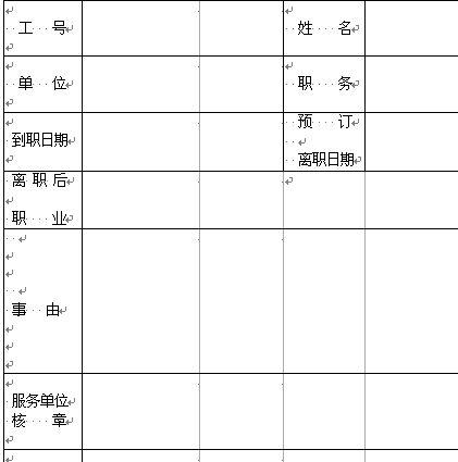 员工离职申请表(doc 1页)