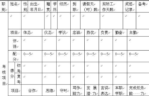 公司职员考核表(doc 1页)-绩效