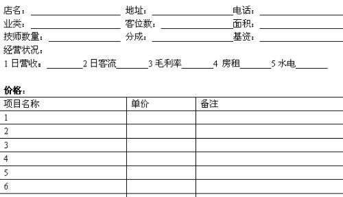 酒店竞争对手信息调查表 doc 1页 企业管理表格