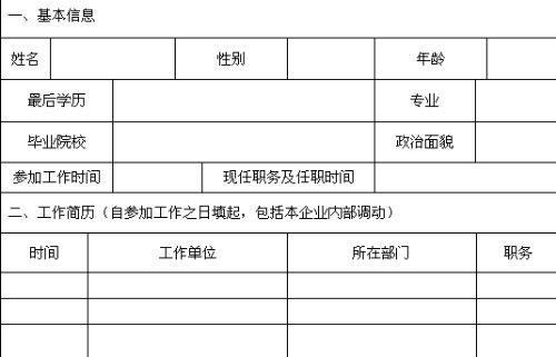 应聘申请表(doc 1页)图片