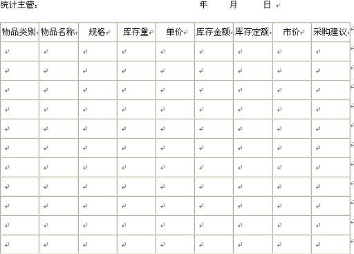 办公用品库存统计表