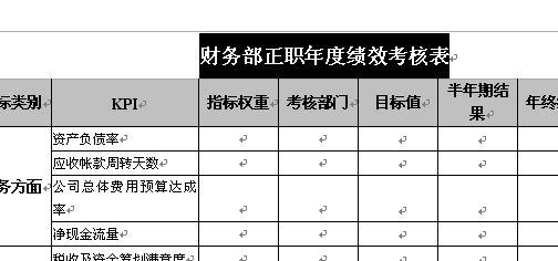 财务部正职年度绩效考核表