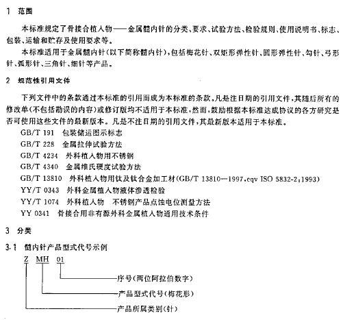 YY0019 2002骨接合植入物 金属髓内针的分类与要求 11页 医药标准