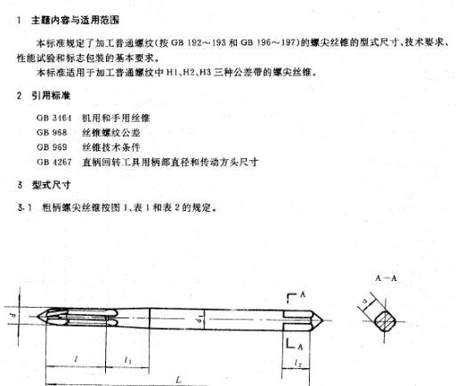 jb5612-91螺尖丝锥的型式尺寸与技术要求