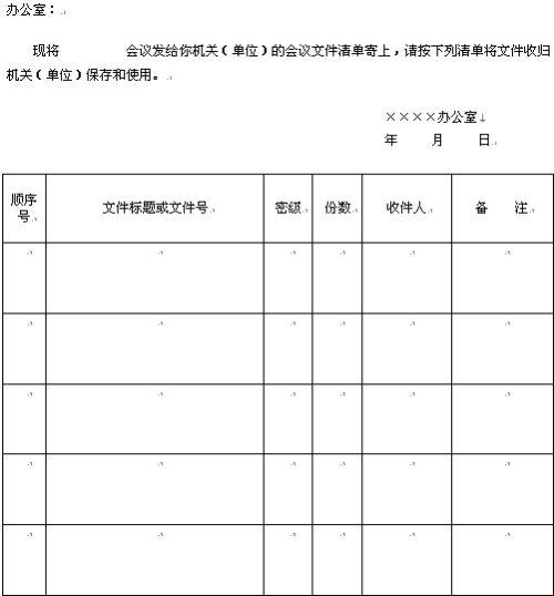 会议文件通知单