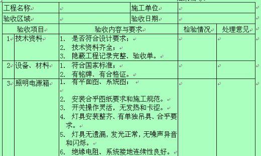 单元设备工程验收记录表