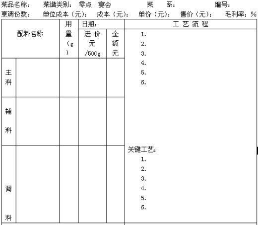 幼儿园手工制作一周食谱表格