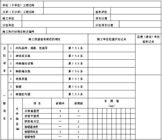 玻璃隔墙工程检验批质量验收记录表