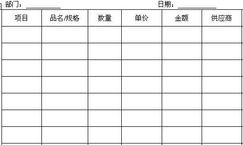 酒店厨房原料申购单(doc 1页)