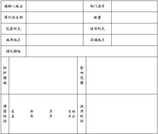 酒店危险物品管理登记表