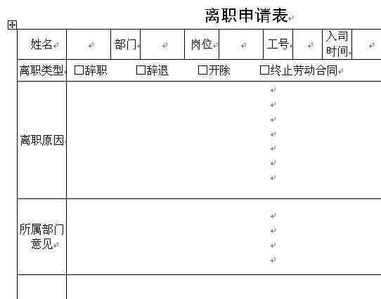 离职申请表(doc 2页)
