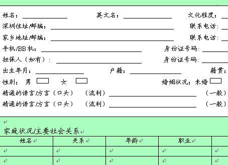 某企业员工登记表