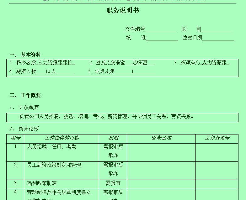 公司职务说明模版(doc 2页)-人
