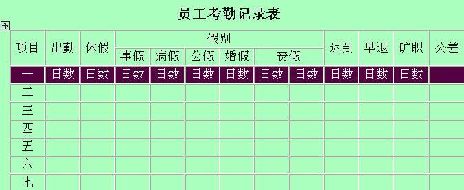 员工考勤记录表模版 doc 1页 员工管理表格