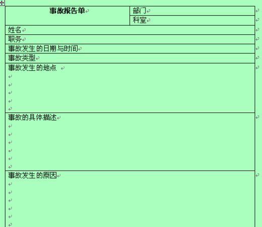事故报告单的范本 doc 2页 安全管理表格