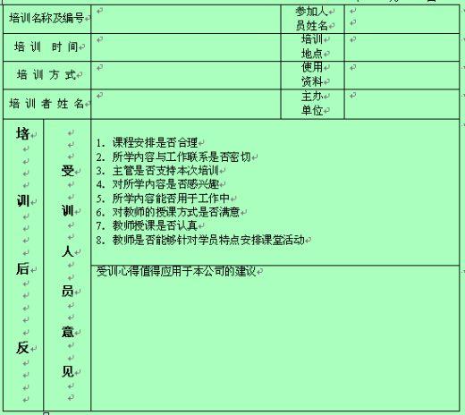员工培训反馈信息表