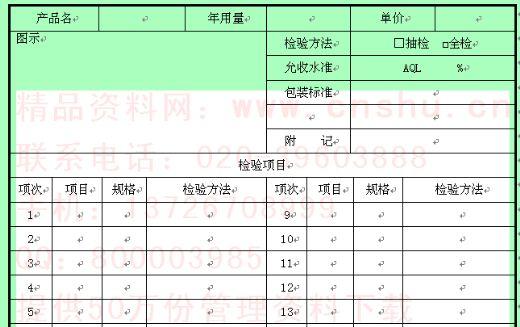 产品验收检验标准表