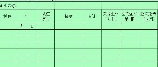 理呆帐税金辅助台帐 xls 页 财务表格