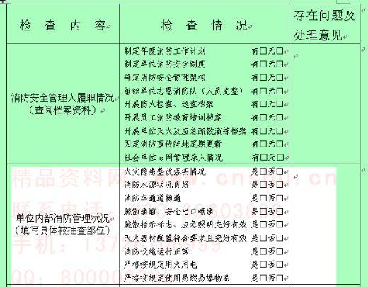 社会单位消防安全责任人防火检查记录表