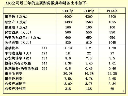 公司财务报表分析数据
