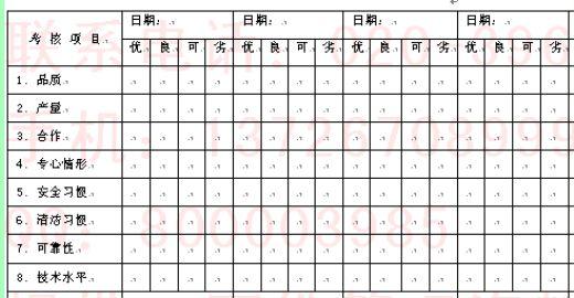 考核作业人员记录表