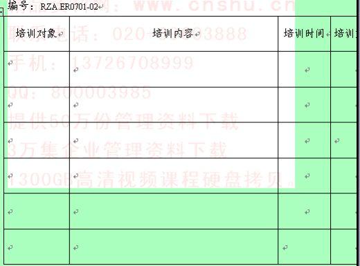 环境管理体系培训计划表