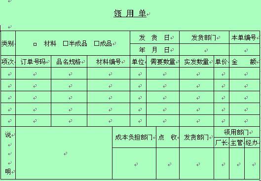 企业物品领用表格 doc 1页 仓库管理表格