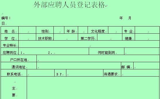 外部应聘人员登记表格(doc 54页)图片