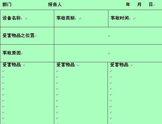 事故损失物品统计表 doc 1页 行政管理表格图片