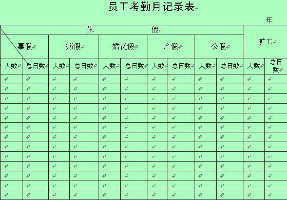 员工考勤月记录表 doc 2页 行政管理表格