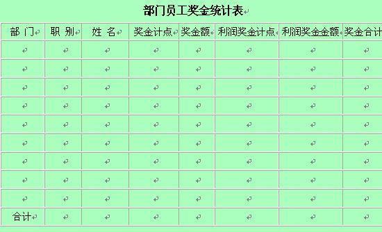 部门员工奖金统计表 doc 1页 行政管理表格图片