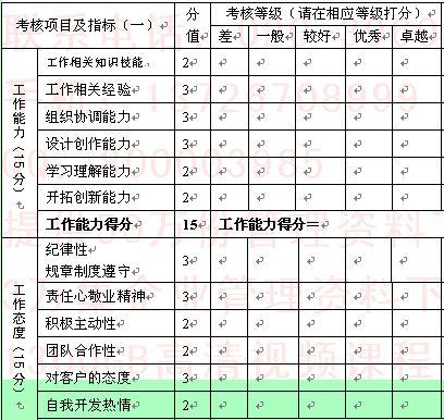 专业组长年度绩效考核表