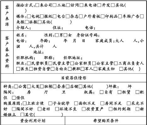 房产公司表格之客户购买需求调查表(pdf 1页)-