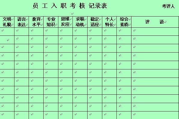 员工入职考核记录表